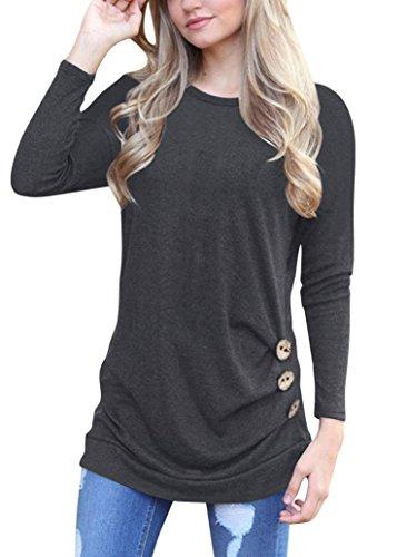 OVERDOSE Frauen Solide Shirt Langarm Botton Falten Bluse Lässig O Neck Casual Tops Plus Größe