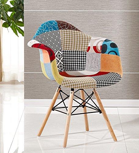 P & N Homewares® Moda Patchwork Stuhl Esszimmerstuhl oder Bürostuhl oder Stuhl Wunderschöner Stoff Kombination modernen Retro-Stuhl