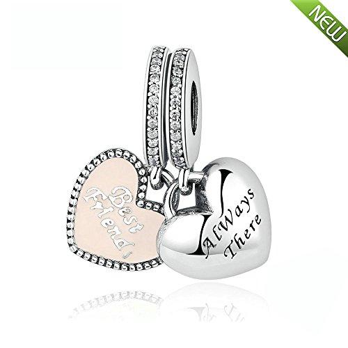 PANDOCCI DIY passt für Pandora Armband am besten Freunde charms Mit weichen rosa Emaille 100% 925 Sterling Silber Perle Schmuck