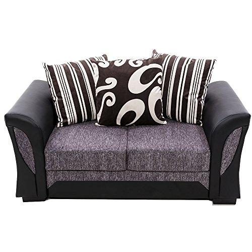 Panana Sofa 3 Sitzen mit 4 Kissen PU Mikrofaser, 193 x 83 x 85cm