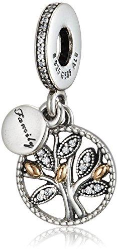 Pandora Damen-Charm Familien Stammbaum Silber vergoldet Zirkonia transparent Brillantschliff - 791728CZ
