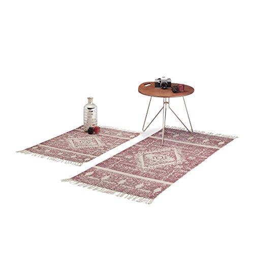 Relaxdays Teppichläufer Ethnomuster für Flur, Diele, Wohnzimmer, Kurzflor Teppich in 60 x 90, 70 x140 cm, weinrot-beige