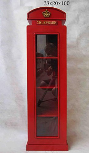 "Retro Vintage Schrank mit Glass ""London Telefonzelle"" - rot"