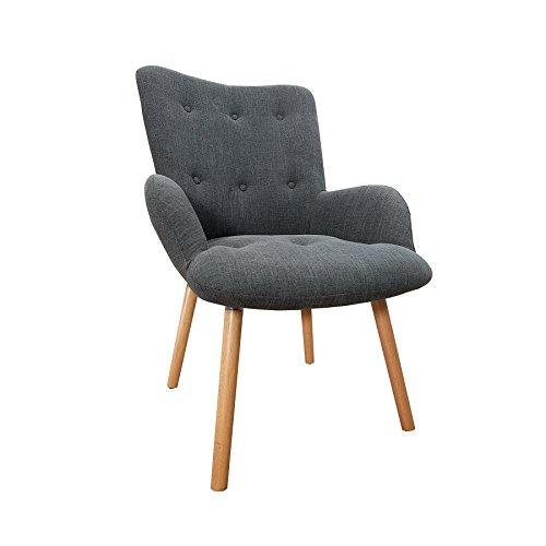 Riess Ambiente Design Sessel Scandinavia Grau inkl. Hocker Retro-Look Stuhl Wohnzimmer