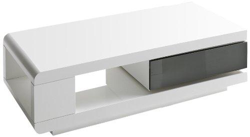 Robas Lund Couchtisch, Wohnzimmertisch, 360 Grad drehbar, Hochglanz/weiß, 120 x 60 x 36 cm, 59031WG4