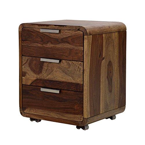 Rollcontainer Sheesham Massivholz B50 x T40 x H60 cm Schubladenschrank für Schreibtisch 3 Schubladen Kommode dunkel-braun Büromöbel Bürocontainer Unikat