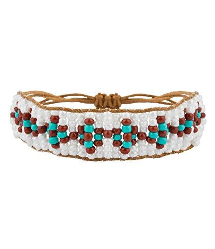 """SIX """"Festival Armband mit Ethno-Muster aus Perlen, weiß, Braun, türkis & Kordel-Verschluss (460-520)"""