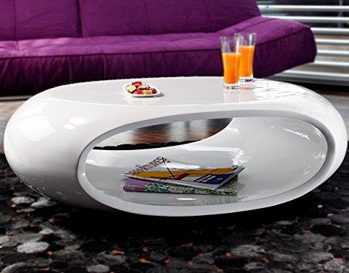 SalesFever Couch-Tisch Hochglanz Weiß Oval 100x70 cm aus Fiberglas   Ofu   Moderner Wohnzimmer-Tisch in Weiss mit Trendiger Optik durch High-Gloss Oberfläche 100cm x 70cm