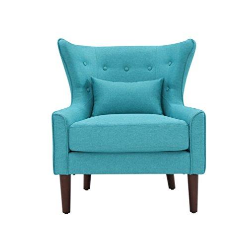 SalesFever® Ohrensessel, Sessel mit Armlehnen, Polstersessel in Blau, pflegeleichte Oberfläche, Füße aus massivem Holz, Polsterbezug aus Polyester, 78x82x89cm