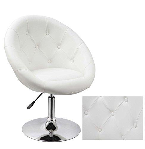 Sessel in Weiß höhenverstellbar Kunstleder Clubsessel Coctailsessel Lounge Sessel Duhome 0332