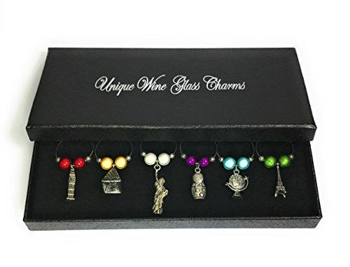 Set von 6Welt Wein Glas Charms mit Geschenkbox von Libby 's Market Place ~ Vom UK Anbieter