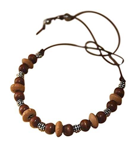 ShoreThing UK Armband/Fußkettchen Ethno-Stil Tibetanische/Bali-Holzperlen/Silberfarbene Perlen, Surfer-Stil, Leder