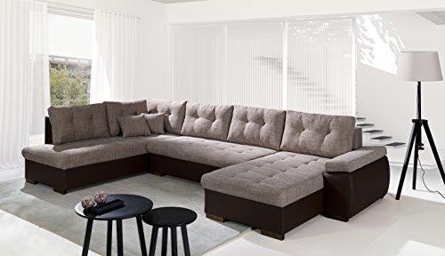 Sofa Couchgarnitur Couch Sofagarnitur RAVENNA U Polstergarnitur Polsterecke Wohnlandschaft mit Schlaffunktion Ottomane links, Korpus Soft 66 braun (Kunstleder) / Rest Nevada 4