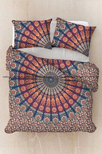 Sophia Art Exklusives Ethno Pfau Baumwolle Bohemian Indischen Mandala Bettbezug-Set mit Kissenbezügen von, Mandala Doona, Boho Bettbezug, Doona (Multi)