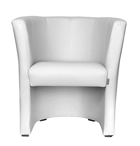 TOP Sessel Clubsessel Loungesessel Cocktailsessel Kunstleder Weiss W042 31