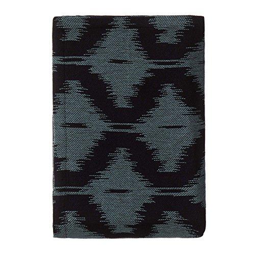 """URBANARA Tagesdecke """"Covilha"""" - 100% reine Baumwolle, Schwarz/Graugrün mit Ethno-Muster – 240 x 265 cm"""