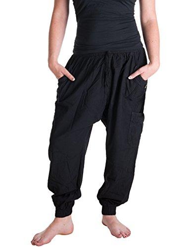 Vishes – Alternative Bekleidung – Sommer Haremshose mit Taschen aus Baumwolle mit elastischem Bund – handgewebt