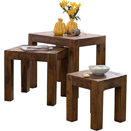 WOHNLING 3er Set Satztisch Massivholz Sheesham Wohnzimmer-Tisch Landhaus-Stil Beistelltisch dunkel-braun Naturholz Couchtisch Natur-Produkt Wohnzimmermöbel Unikat Massivholzmöbel Echtholz Anstelltisch