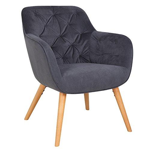 WOLTU #967 Relaxsessel Loungesessel Design Sessel Polstersessel mit Armlehne, Dicke Polsterung aus Samt, Massivholz, Dunkelgrau