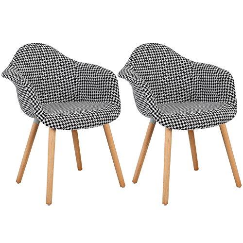 WOLTU 981 Esszimmerstühle 2er Set Esszimmerstuhl mit Lehne Design Stuhl Küchenstuhl Holz Leinen