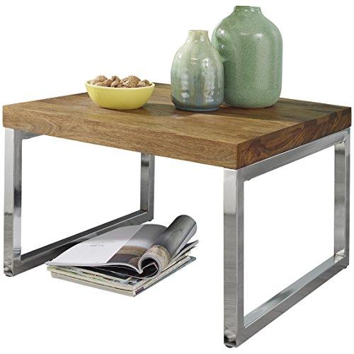 wohnling beistelltisch guna massiv holz sheesham wohnzimmer tisch mit metallgestell landhaus. Black Bedroom Furniture Sets. Home Design Ideas
