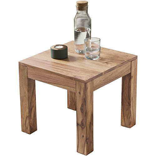 Wohnling Couchtisch Massiv-Holz 45 cm breit Wohnzimmer-Tisch Design braun Landhaus-Stil Beistelltisch Natur-Produkt Wohnzimmermöbel Unikat modern Massivholzmöbel Echtholz quadratisch
