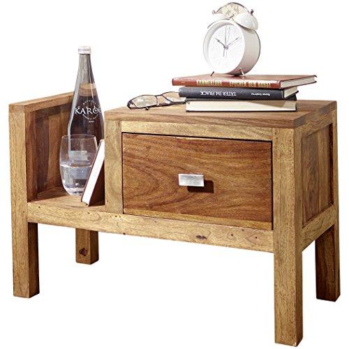 Wohnling Nachttisch Massiv-Holz Sheesham Nacht-Kommode 40 cm Schublade mit Zeitungsablage Nachtschrank Echt-Holz Nachtköstchen dunkel-braun Landhaus-Stil Nachtkonsole Natur-Produkt Schlafzimmer-Möbel