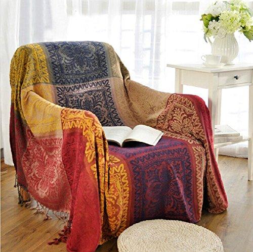 YQ WHJB Sofa Slipcovers 1-teilig,Caterpillar Voll-bedecktes Handtuch Nordische Staubdichte Couch Sofa Decke Ethno-stil Möbel-protector Für 1 2 3 Kissen Sofa Staubschutz