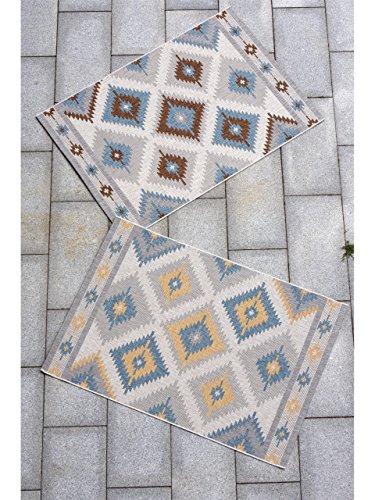 benuta Teppiche Moderner Designer In- & Outdoor Teppich Star Kilim - GuT-Siegel - 100% Polypropylen - Ikat - Flachgewebt - Küche