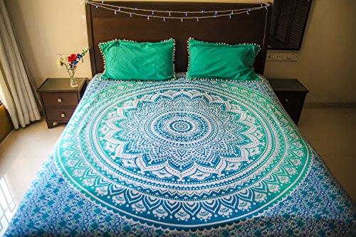 folkulture tealtastic Mandala Betten mit 2Kissen, Indian Bohemian Hippie Tagesdecke, Ombre Wandteppich für oder Beach Überwurf, Blau Queen Size Boho Bettwäsche verteilt