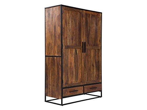 massivum Oklahoma Wäscheschrank, 2-Tür/2-Schub, Holz, Dunkel Braun, 50 x 120 x 190 cm