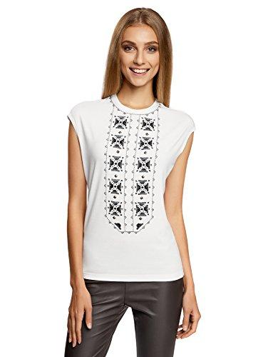 oodji Ultra Damen T-Shirt mit Rundhalsauschnitt und Zierstickerei