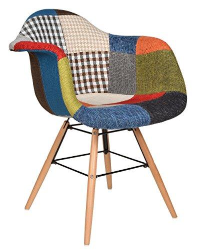 ts-ideen 1x Design Patchwork Sessel Wohnzimmer Büro Stuhl Esszimmer Sitz Holz Stoff bunt