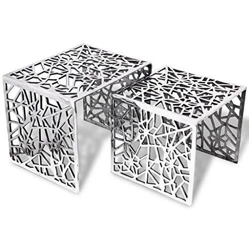 vidaXL 2tlg Aluminium Beistelltisch Set Couchtisch Kaffeetisch Wohnzimmer Silber
