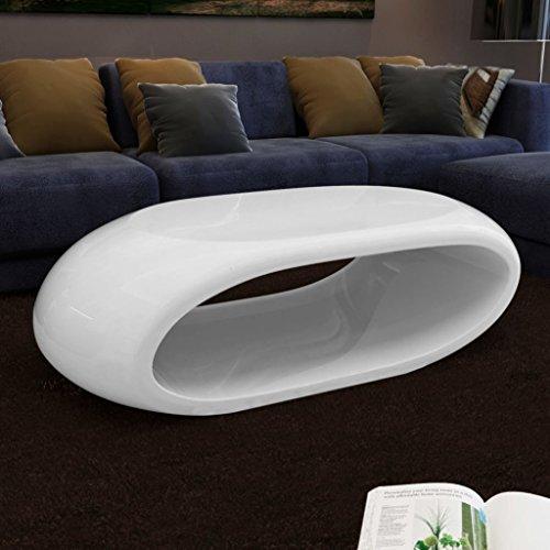 vidaXL Couchtisch Beistelltisch Tisch Fiberglas Hohldesign Weiß/Schwarz 290481