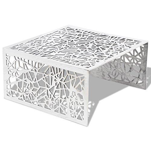 vidaXL Design Couchtisch Aluminium Beistelltisch Wohnzimmer Sofatisch Lochmuster