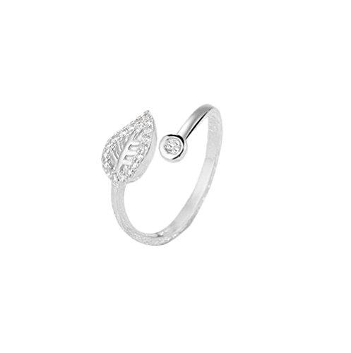 BIGBOBA einfach zu Silber-Ring, mit Blätter-Diamant-Ring, Schmuck für Frauen Mädchen