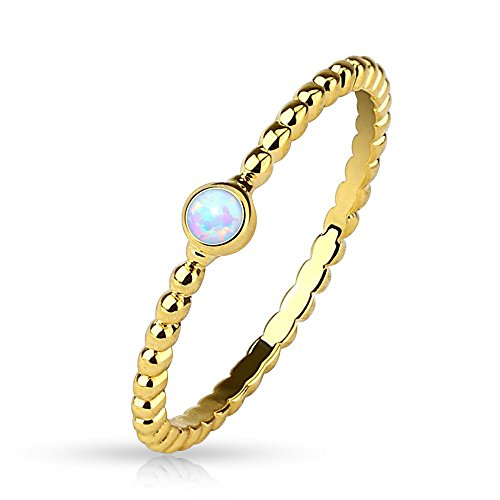 Bungsa Damenring mit Opal Kristall Stein Gold (Ring Damen Fingerring Partnerringe Verlobungsringe Trauringe Damenring Brass 14Kt)
