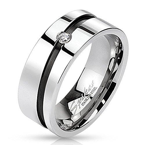 Bungsa Edelstahl Kristall Ring mit Diagonal Schwarzem Mittelring Silber hochglanzpoliert Damen Herren Partnerringe Größe 49-64 (Ring Fingerring Partnerringe Verlobungsringe Trauringe Damenring)