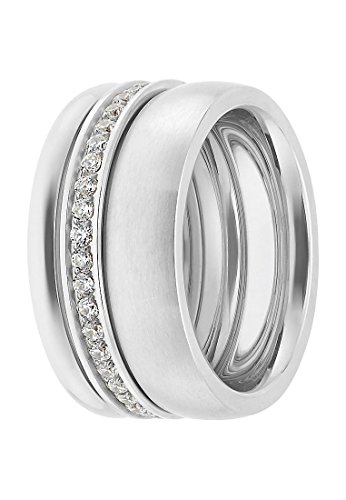 C-Collection by CHRIST Damen-Ring Edelstahl 44 Zirkonia (silber)