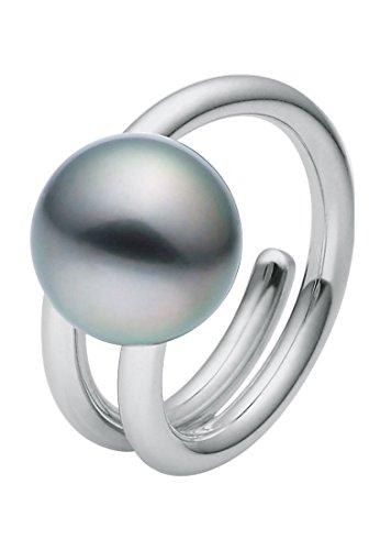 CHRIST Pearls Damen-Ring 925er Silber 1 Tahiti-Perle (silber/anthrazit)