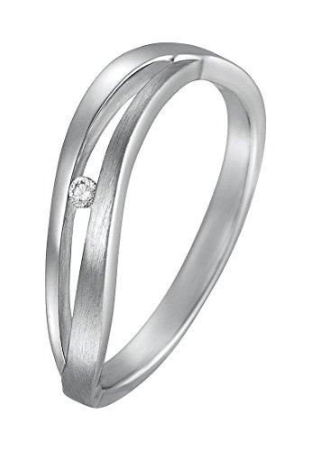 CHRIST Silver Diamonds Damen-Ring 925er Silber 1 Diamant ca. 0,02 ct. (silber)