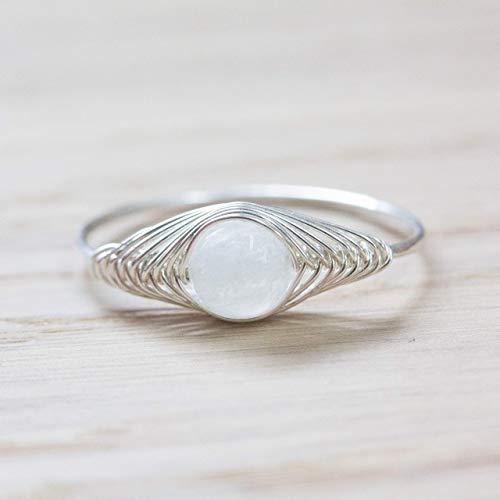 Echter Edelstein-Ring mit weißem Regenbogen-Mondstein und 925 Sterling-Silber/in allen Größen/sehr kunstvolle und stabile Handarbeit/Damen-Ring Silber-Ring Silber-Schmuck Designer-Schmuck