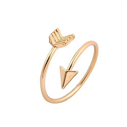 "GOOD.designs Designer Damen Ring ""Arrow"" in eleganter Pfeilform, voll verstellbarer Damenring in Gold, Silber oder Roségold"