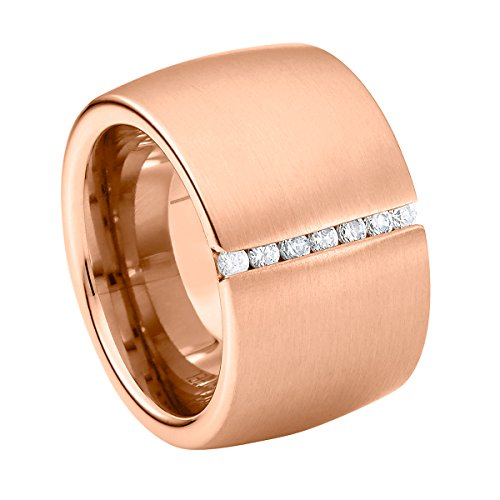 Heideman Damen-Ring Lines mit Swarovski-Steinen Edelstahl Poliert