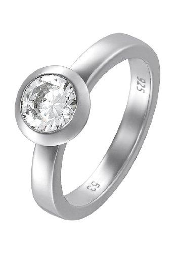 JETTE Silver Damen-Ring Basic 925er Silber 1 Zirkon (silber)