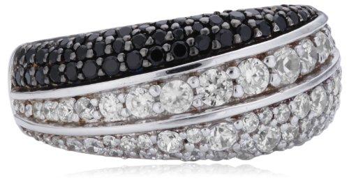 Joop Damen-Ring 925 Sterling Silber Statement teilweise geschwärzt Zirkonia-Pavée weiß/schwarz JPRG90606C5