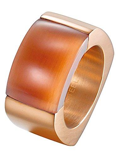 Joop! Damen-Ring Edelstahl Quarz rotgold Rechteckschliff Gr. 60 JPRG10614D190