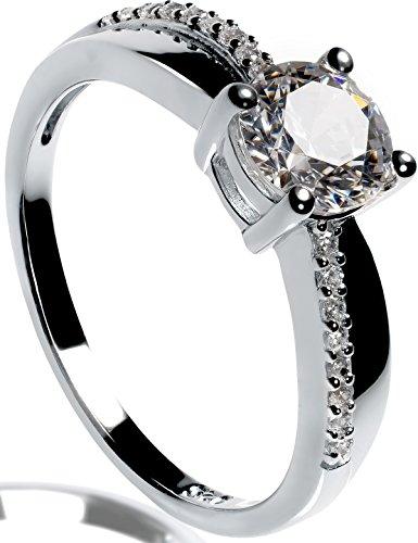 Lars Benz LUXUS Damen-Ring Verlobungsring Silber 925 Swarovski Zirkonia 1,4 Karat