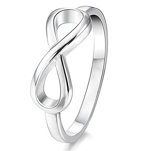 MunkiMix 925 Sterling Silber Band Ring Silber Ton Infinity Unendlichkeit Zeichen Symbol Hochzeit Damen